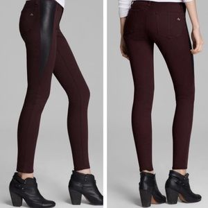 Rag & Bone Leather Panel Burgundy Skinny Jeans 27